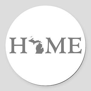 Michigan Home Round Car Magnet