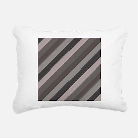 Grey Striped Rectangular Canvas Pillow