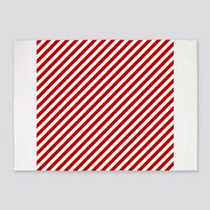 Red and White Stripes 5'x7'Area Rug