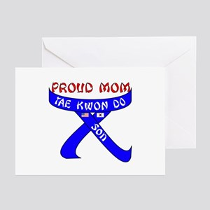 TKD Mom Son Greeting Cards (Pk of 10)