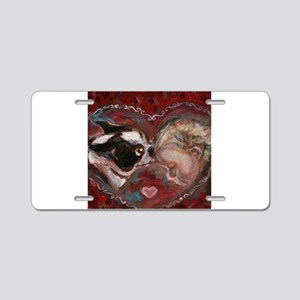 Boston Terrier Kisses Baby Aluminum License Plate