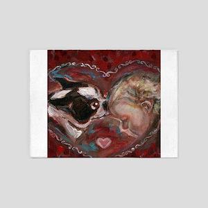 Boston Terrier Kisses Baby 5'x7'Area Rug