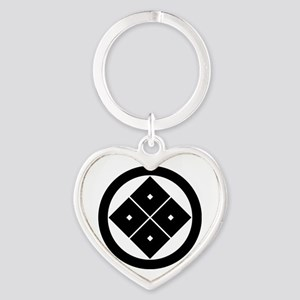 Tilted four-square-eyes in circle Heart Keychain