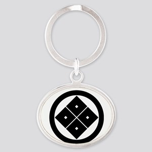 Tilted four-square-eyes in circle Oval Keychain