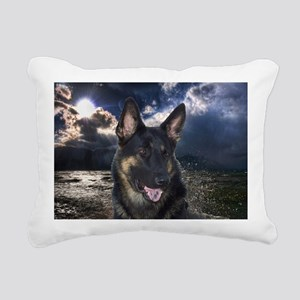 German Shepherd Ocean Rectangular Canvas Pillow