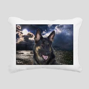 German Shepherd Ocean Rectangular Canvas Pillow