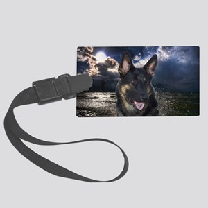 German Shepherd Ocean Large Luggage Tag