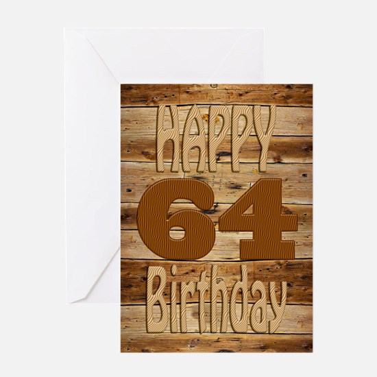 64th Birthday A carved wooden card. Greeting Cards
