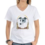 Brindle Whippet Christmas Women's V-Neck T-Shirt