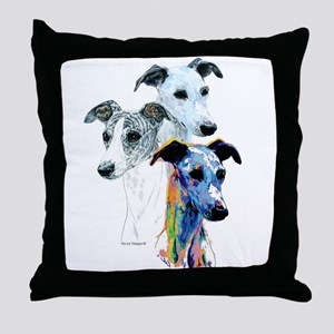 Whippet Group Throw Pillow