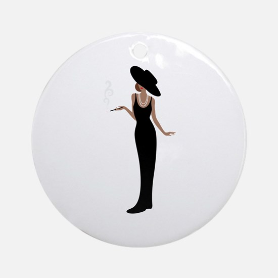 Foxy Diva Smoking Classy Lady Ornament (Round)