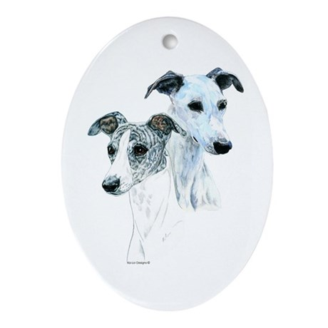 Whippet Pair Oval Ornament