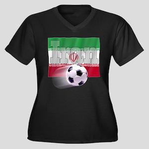 Soccer Flag Iran Women's Plus Size V-Neck Dark T-S