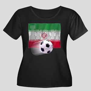 Soccer Flag Iran Women's Plus Size Scoop Neck Dark