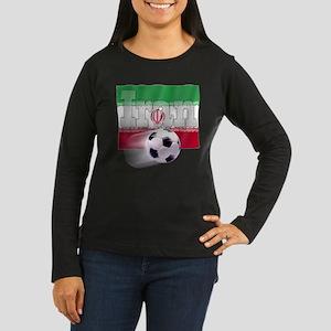 Soccer Flag Iran Women's Long Sleeve Dark T-Shirt
