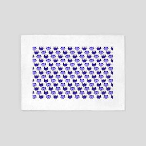 Whimsical Blue Owls 5'x7'Area Rug