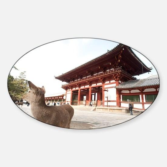 todai ji gate and deer Sticker (Oval)
