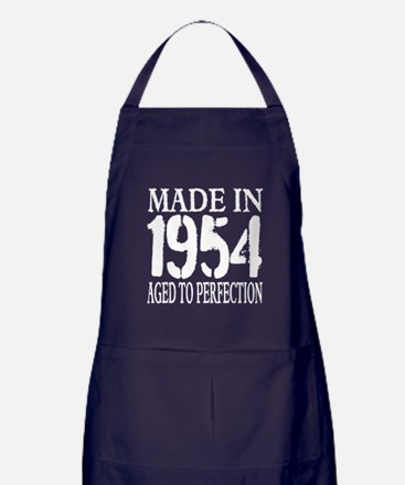 1954 Aged To Perfection Bbq For Men Apron (dark)