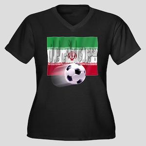 Soccer Flag Iran (Arabic) Women's Plus Size V-Neck