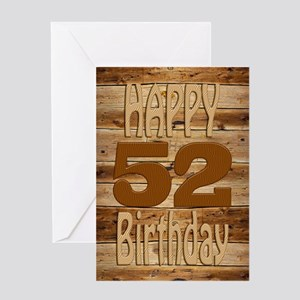 52nd Birthday A carved wooden card. Greeting Cards