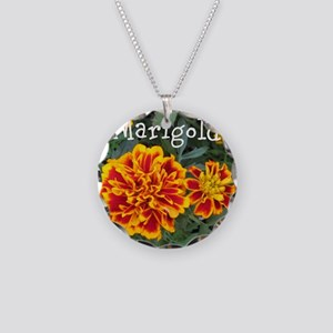 Marigold Flowers Orange Labeled Necklace
