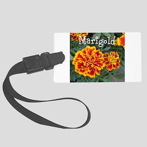 Marigold Flowers Orange Labeled Luggage Tag