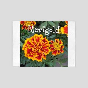 Marigold Flowers Orange Labeled 5'x7'Area Rug