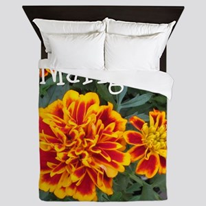 Marigold Flowers Orange Labeled Queen Duvet
