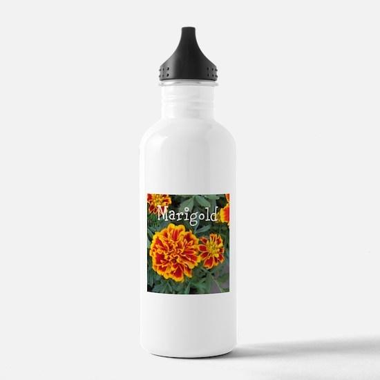Marigold Flowers Orange Labeled Water Bottle