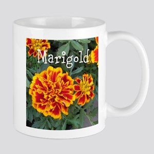 Marigold Flowers Orange Labeled Mugs