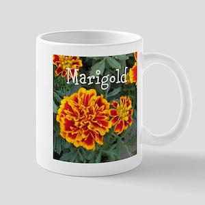 Marigold Flowers Orange Labeled Mugs