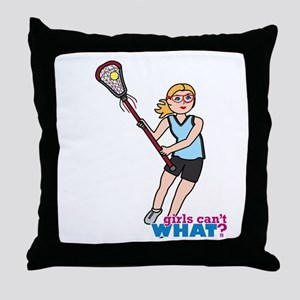 Girl's Lacrosse - Light/Blonde Throw Pillow