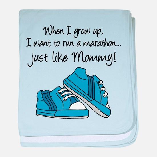Run Marathon Just Like Mommy baby blanket
