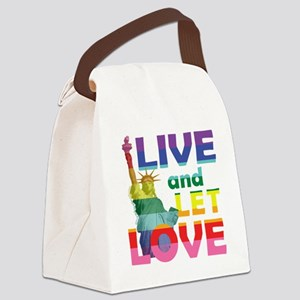 Live Let Love Statue of Liberty Canvas Lunch Bag