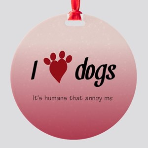 I Heart Dogs Round Ornament
