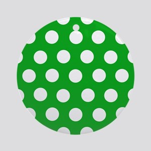 Classic Green Polkadots Ornament (Round)