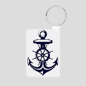 Antique Navy Blue Anchor Aluminum Photo Keychain