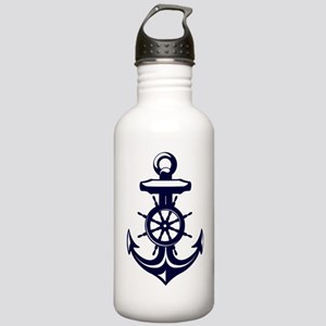 Antique Navy Blue Anch Stainless Water Bottle 1.0L