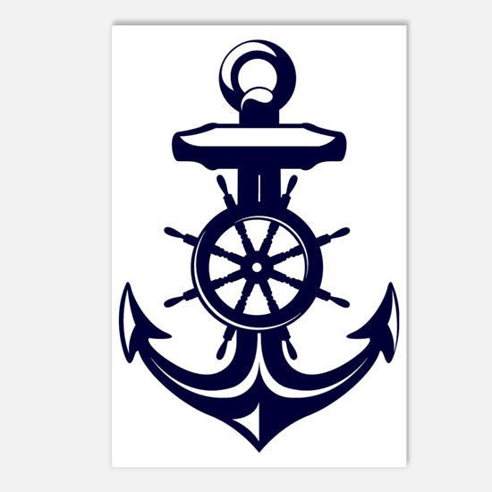 Antique Navy Blue Anchor Postcards (Package of 8)