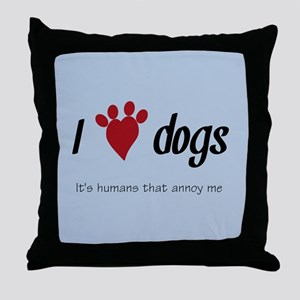 I Heart Dogs Throw Pillow