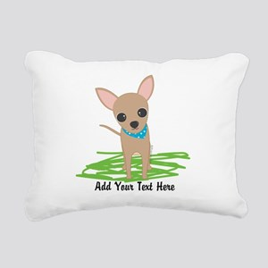Cute Chihuahua Blue Rectangular Canvas Pillow