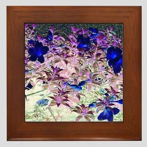 Blue Flowes Framed Tile