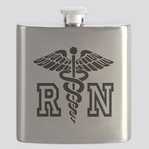 RN Nurse Caduceus Flask