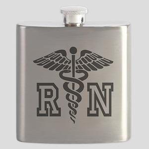 RN Nurse Caduceus Flask