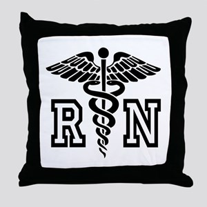 RN Nurse Caduceus Throw Pillow