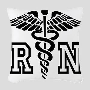RN Nurse Caduceus Woven Throw Pillow