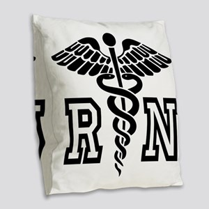 RN Nurse Caduceus Burlap Throw Pillow