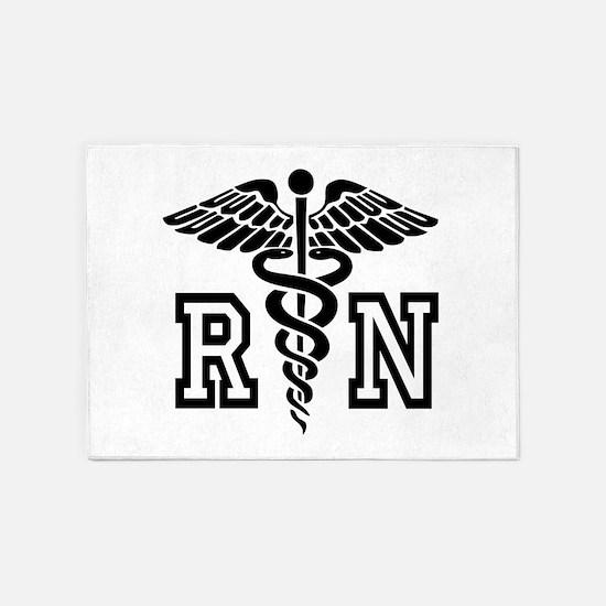 RN Nurse Caduceus 5'x7'Area Rug