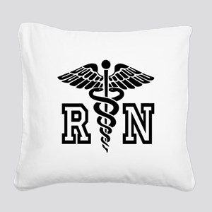RN Nurse Caduceus Square Canvas Pillow