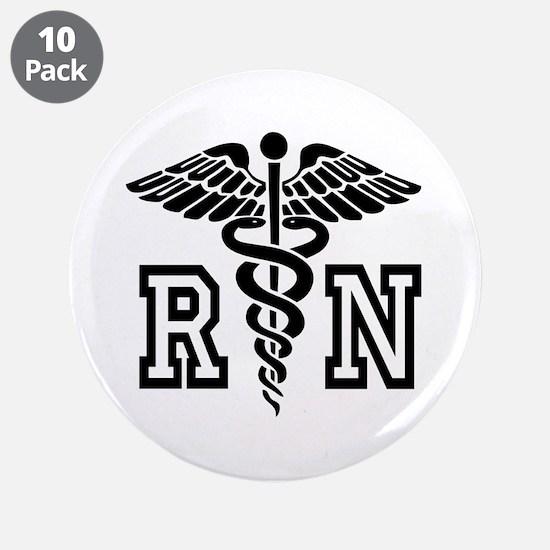 "RN Nurse Caduceus 3.5"" Button (10 pack)"